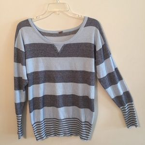 Poof Blue Striped  Crew Neck Sweater